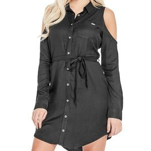 Guess Gigi Cold-Shoulder Button Tie Waist Dress